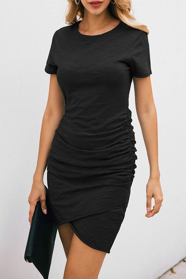 Hualong Sexy Casual Crew Neck Black Short Sleeve Bodycon Dress