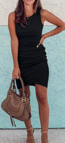 Hualong Sexy Casual Crew Neck Black Sleeveless Bodycon Dress