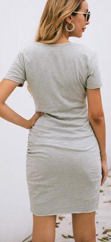 Hualong Sexy Casual Crew Neck Gray Short Sleeve Bodycon Dress