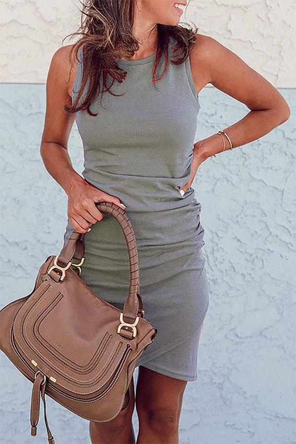 Hualong Sexy Casual Crew Neck Gray Sleeveless Bodycon Dress