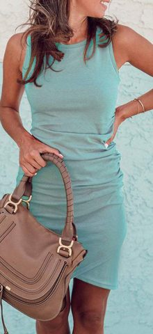 Hualong Sexy Casual Crew Neck Green Sleeveless Bodycon Dress