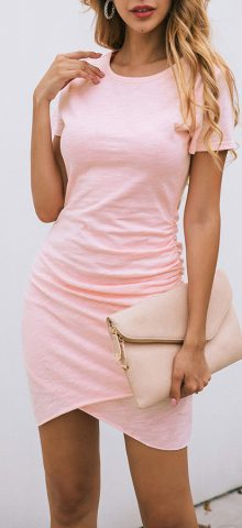 Hualong Sexy Casual Crew Neck Pink Short Sleeve Bodycon Dress