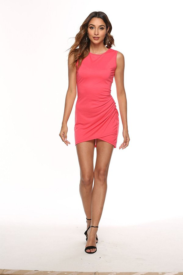 Hualong Sexy Casual Crew Neck Rose Red Sleeveless Bodycon Dress