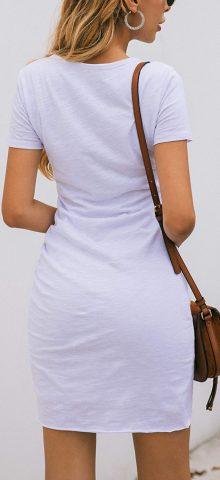 Hualong Sexy Casual Crew Neck White Short Sleeve Bodycon Dress