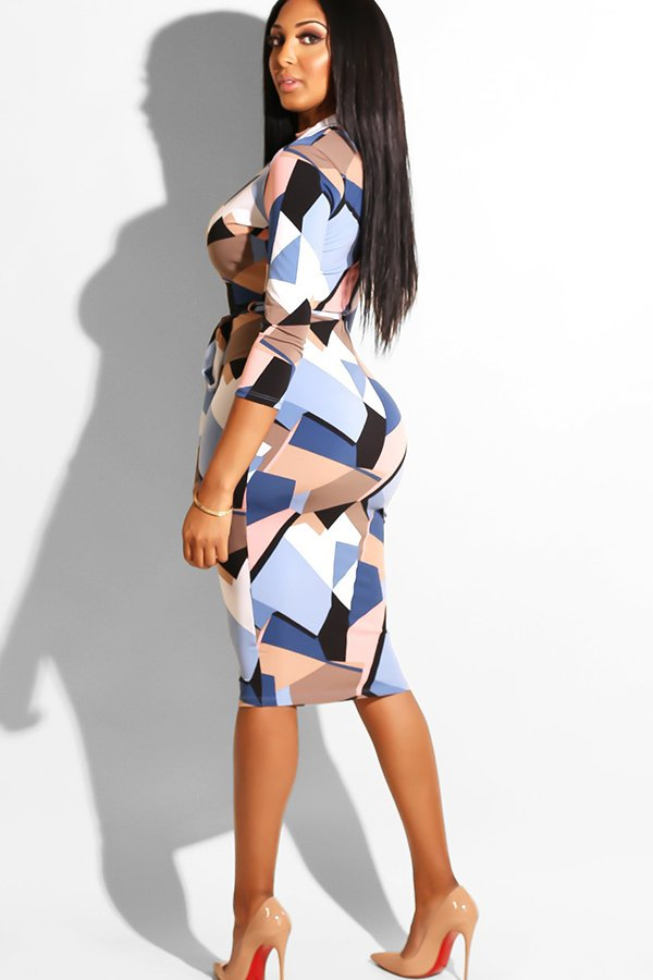 Hualong Sexy Full Sleeve Color Block Zip Up Bodycon Dress