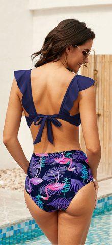 Hualong Sexy Printed Bottom Ruffle Bikini Set