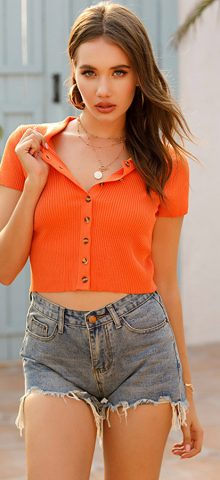 Hualong Sexy Short Sleeve Button Down Ribbed Knit Top