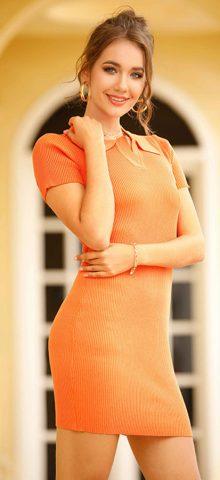 Hualong Sexy Short Sleeve Knitted Orange Bodycon Dress