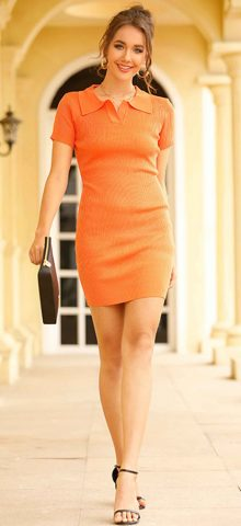 Hualong Sexy Short Sleeve Knitted Orange Bodycon Dress