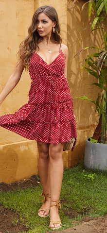 Hualong Sexy Spaghetti Strap Pretty Woman Polka Dot Dress