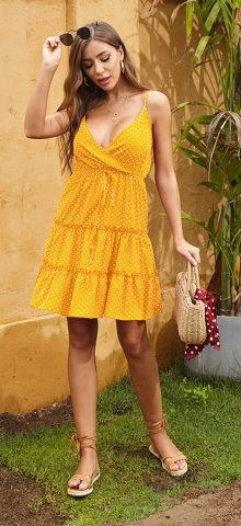 Hualong Sexy Spaghetti Strap Yellow Polka Dot Dress