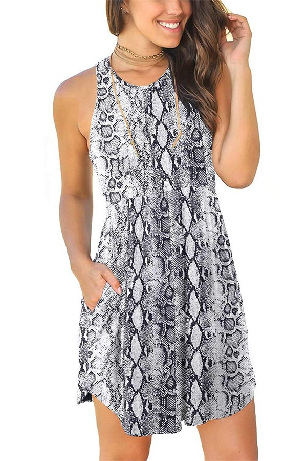 Hualong Sexy Summer Casual Sleeveless Beach Snake White Print Sundress