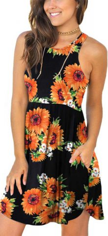 Hualong Sexy Summer Casual Sleeveless Black Floral Beach Print Sundress