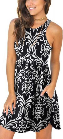 Hualong Sexy Summer Casual Sleeveless Floral Bw Grain Beach Print Sundress