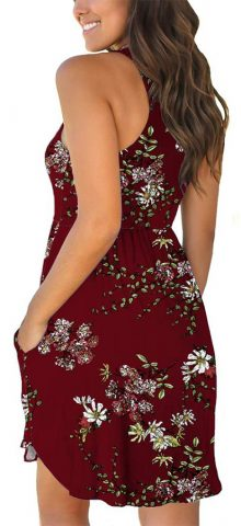 Hualong Sexy Summer Casual Sleeveless Floral Claret Beach Print Sundress