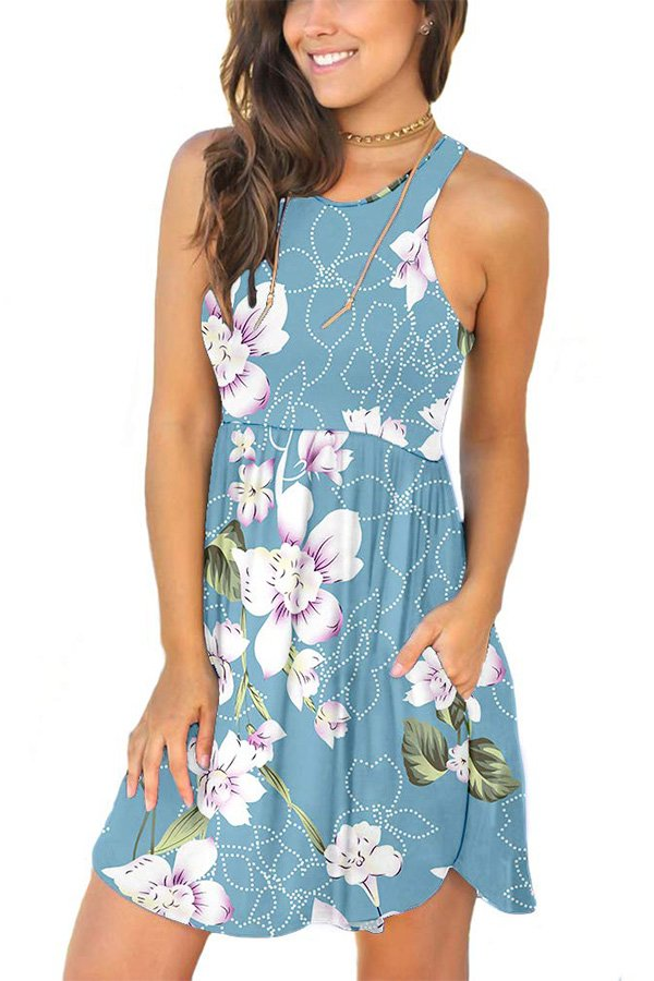 Hualong Sexy Summer Casual Sleeveless Floral Light Blue Beach Print Sundress