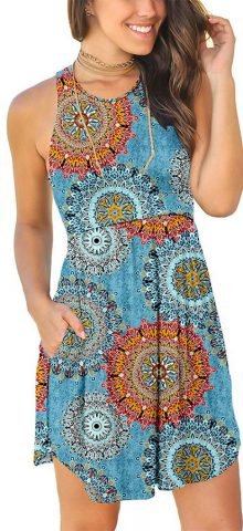 Hualong Sexy Summer Casual Sleeveless Floral Mix Blue Beach Print Sundress