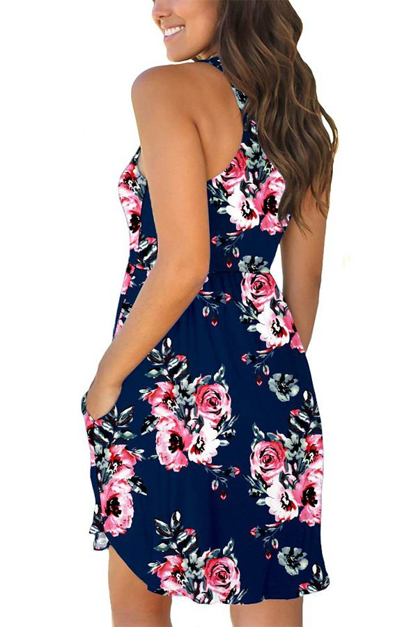 Hualong Sexy Summer Casual Sleeveless Floral Navy Beach Print Sundress