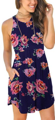 Hualong Sexy Summer Casual Sleeveless Floral Pink Navy Beach Print Sundress