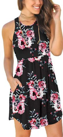 Hualong Sexy Summer Casual Sleeveless Flower Black Beach Print Sundress