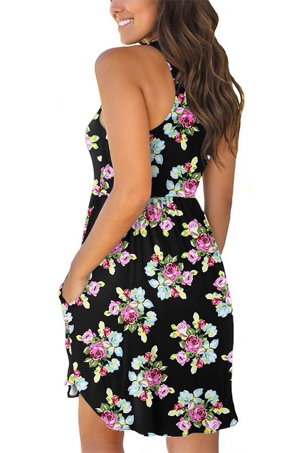 Hualong Sexy Summer Casual Sleeveless Little Floral Beach Print Sundress