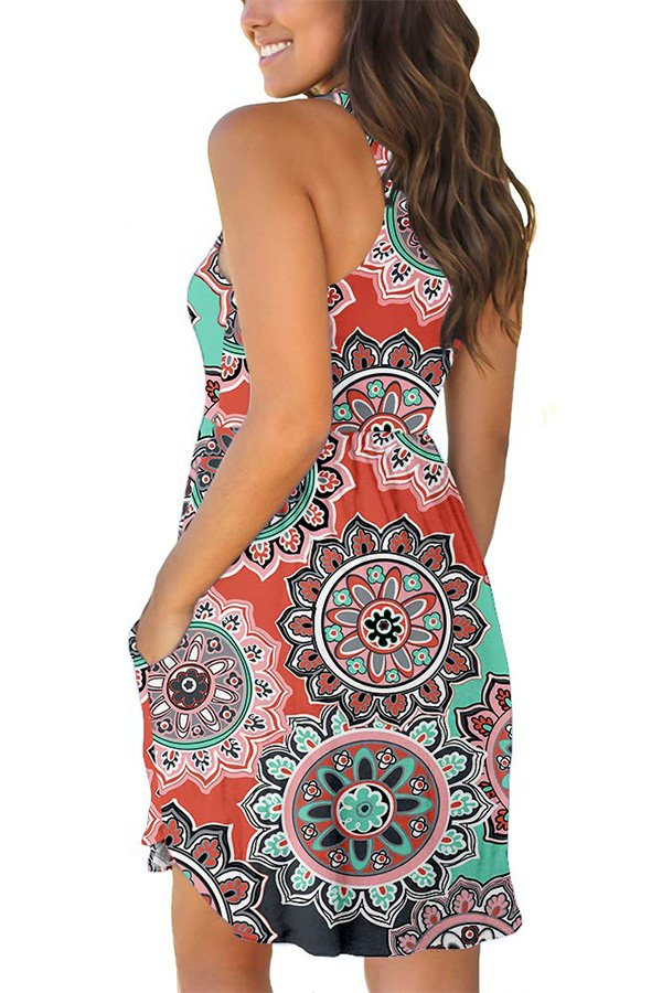 Hualong Sexy Summer Casual Sleeveless Orange Floral Beach Print Sundress