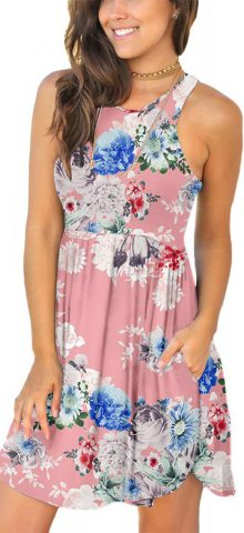Hualong Sexy Summer Casual Sleeveless Pink Floral Beach Print Sundress