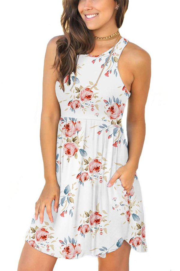 Hualong Sexy Summer Casual Sleeveless White Floral Beach Print Sundress