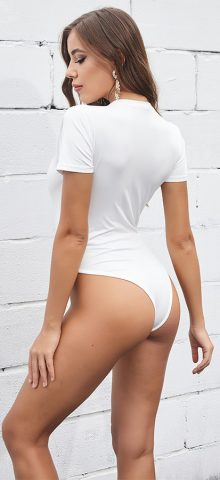 Hualong Sexy V Neck White Short Sleeve Bodysuit