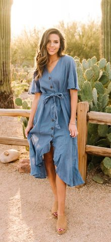 Hualong Cute Blue V Neck Button Front Short Sleeve Long Wrap Dress