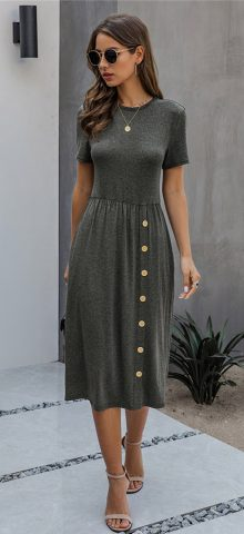 Hualong Cute Button Front Dark Gray Casual Short Sleeve Maxi Dress