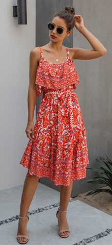 Hualong Cute Floral Printed Wrap Red Spaghetti Strap Dress