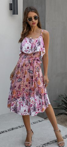 Hualong Cute Floral Printed Wrap Spaghetti Strap Sundress