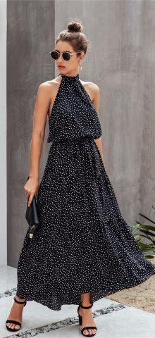 Hualong Cute Halter Off The Shoulder Black Wrap Front Maxi Dress