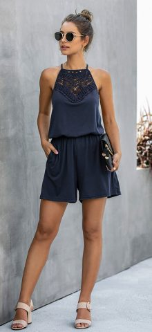Hualong Cute Lace Wrap Sleeveless Navy Blue Romper
