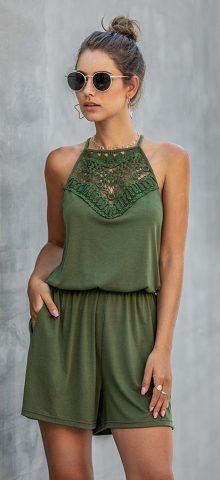 Hualong Cute Lace Wrap Sleeveless Olive Green Romper