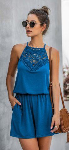 Hualong Cute Lace Wrap Sleeveless Royal Blue Romper