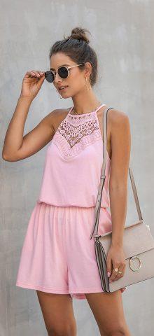 Hualong Cute Lace Wrap Wine Pink Sleeveless Short Romper