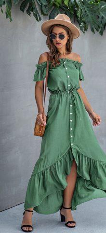 Hualong Cute Off The Shoulder Summer Green Button Down Maxi Dress