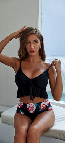 Hualong Cute Printed Bottom Ruffle Black High Waisted Swimming Suits