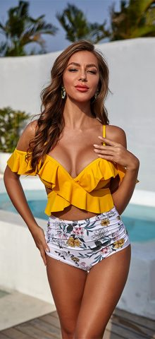 Hualong Cute Printed Bottom Ruffle High Waisted Bikini
