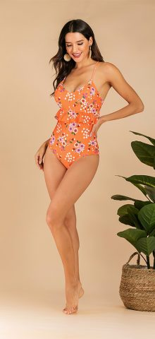Hualong Cute Printed Bottom Ruffle High Waisted Swimming Suits