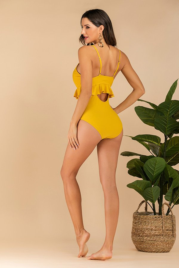 Hualong Cute Printed Bottom Ruffle Yellow High Waisted Swimming Suits