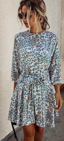 Hualong Cute Round Neck Wrap Short Long Sleeve Leopard Dress