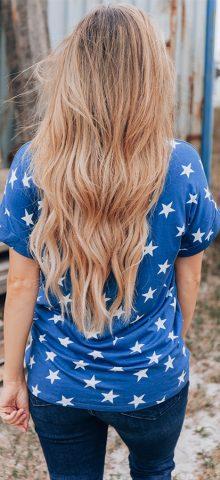 Hualong Cute Short Sleeve American Star Printed Top