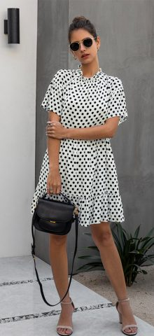 Hualong Cute Short Sleeve Black And White Polka Dot Dress