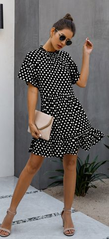 Hualong Cute Short Sleeve Black Polka Dot Dress