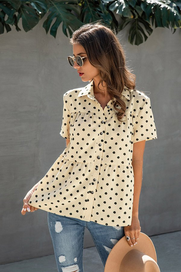 Hualong Cute Short Sleeve Button Down Apricot Polka Dotted Blouses