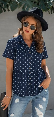 Hualong Cute Short Sleeve Button Down Navy Blue Polka Dotted Blouses