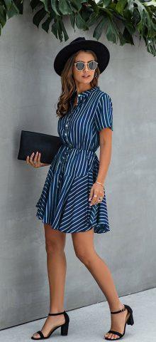 Hualong Cute Short Sleeve Button Front Blue Vertical Striped Dress